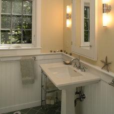 Transitional Bathroom by Penelope Daborn Ltd.