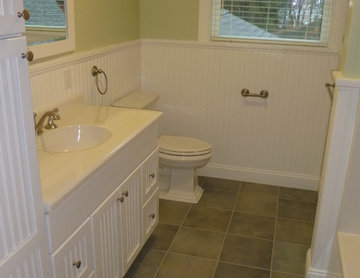 Cape style guest bathroom