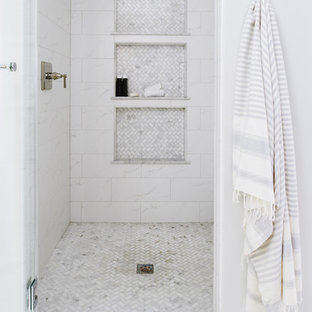 Corner shower - mid-sized eclectic master white tile and marble tile marble floor and white floor corner shower idea in DC Metro with shaker cabinets, light wood cabinets, a two-piece toilet, gray walls, an undermount sink, quartz countertops and a hinged shower door