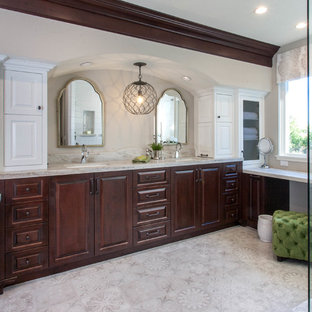 Bathroom - large mediterranean master white tile and ceramic tile linoleum floor and gray floor bathroom idea in San Diego with an undermount sink, quartzite countertops, gray countertops, raised-panel cabinets, dark wood cabinets and beige walls