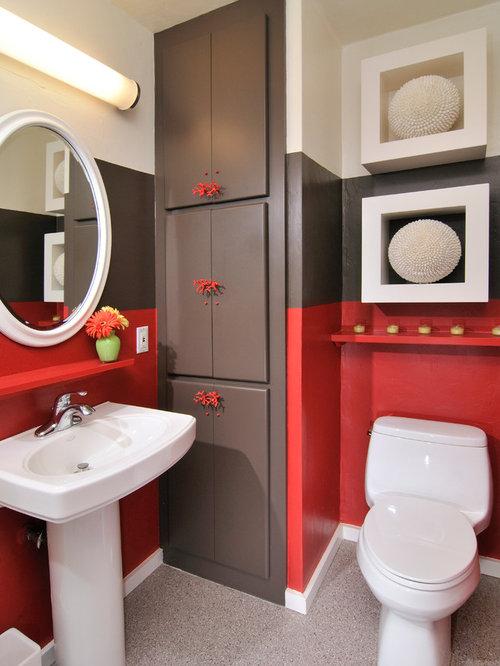 Inspiration For A Large Modern Master Linoleum Floor Bathroom Remodel In San Francisco With Pedestal