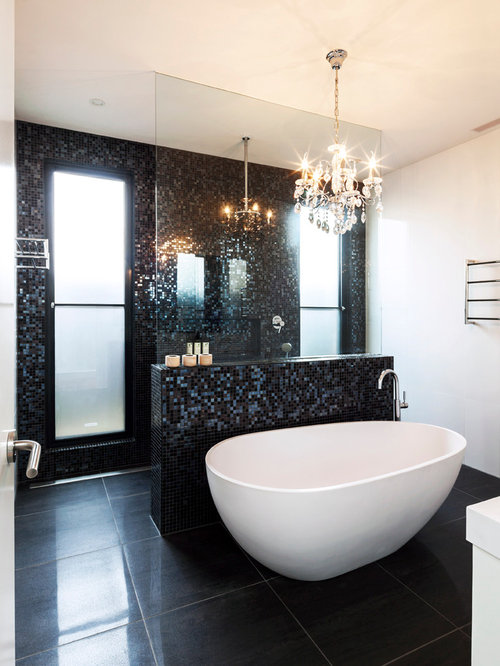 Black Tile Bathroom Houzz