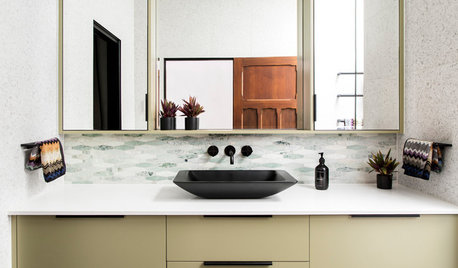 Room of the Week: Olive Green and a Trio of Tiles Make a Bathroom