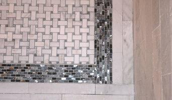 Carrara and Oyster Blue shellstone bath