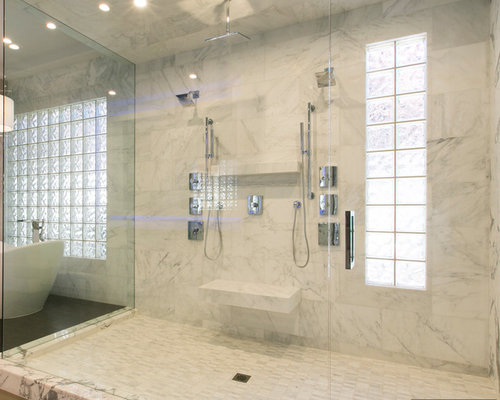 Carrera marble bathroom houzz for Carrera bathroom ideas