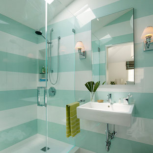 Photo of a contemporary kids bathroom in San Francisco with mosaic tile, a wall-mount sink and green walls.