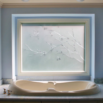 Carved and Etched Glass Window