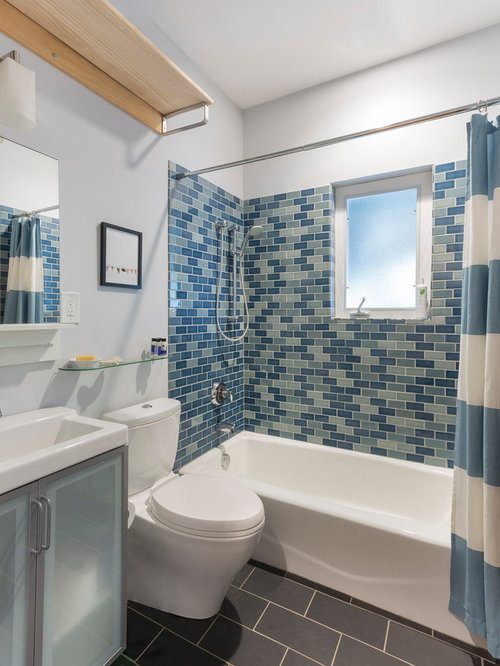 Bathroom   Contemporary Blue Tile And Subway Tile Slate Floor Bathroom Idea  In Austin With Glass