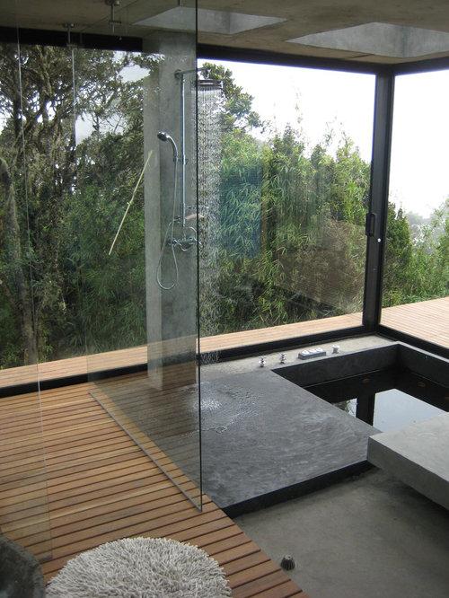 Small Rain Shower Sunken Tub Combo | Houzz