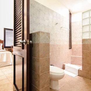 Foto di una grande stanza da bagno padronale tropicale con doccia aperta, WC monopezzo, piastrelle multicolore, piastrelle in travertino, pareti multicolore, pavimento in travertino, doccia aperta e pavimento rosa