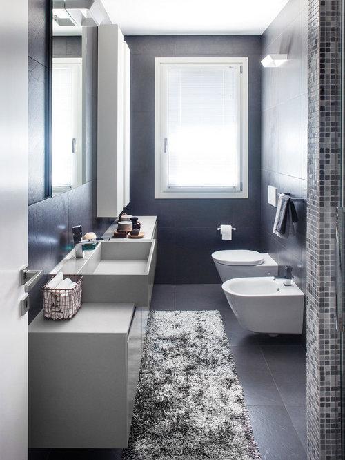 Foto e Idee per Stanze da Bagno - stanza da bagno con piastrelle nere