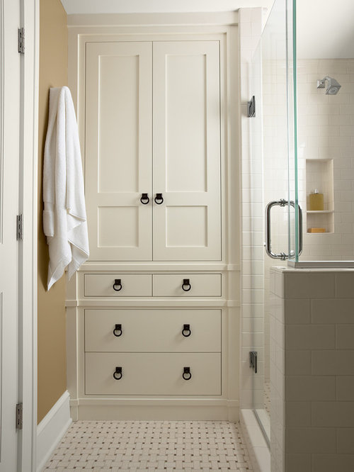 Example of a classic subway tile bathroom design in Minneapolis Custom Linen Cabinet  Houzz