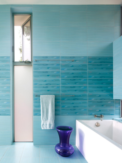 Inspiration For A Contemporary Blue Tile Alcove Bathtub Remodel In San Go With Walls
