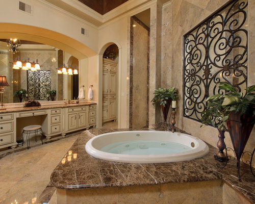 Inspiration For A Mediterranean Bathroom Remodel In Houston With Hot Tub