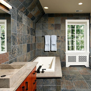 Genial Example Of A Trendy Slate Tile Bathroom Design In DC Metro With Solid  Surface Countertops And