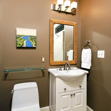 transitional bathroom by Case Design/Remodeling, Inc.