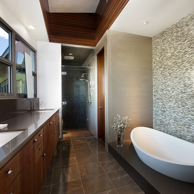 Inspiration for a mid-sized contemporary master green tile and mosaic tile marble floor bathroom remodel in Los Angeles with dark wood cabinets, flat-panel cabinets, beige walls, an undermount sink and quartz countertops