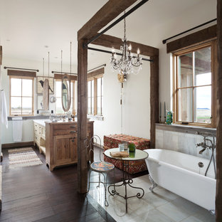 Inspiration for a medium sized country bathroom in Denver with a walk-in shower, grey tiles, metal tiles, white walls and dark hardwood flooring.