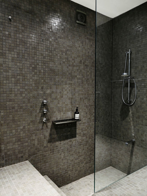 Step down shower home design ideas pictures remodel and for How to put down tile in bathroom