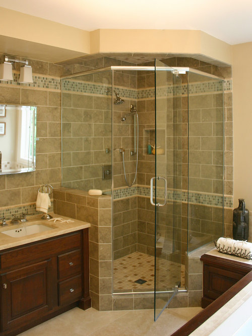example of a classic mosaic tile corner shower design in boston - Small Bathroom Remodel Corner Shower