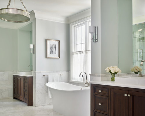 Example Of A Classic Master Bathroom Design In Atlanta With Furniture Like  Cabinets, Dark