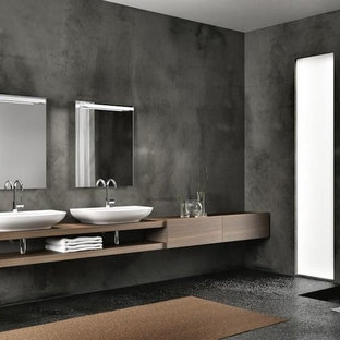 Inspiration for a large contemporary family bathroom in Other with flat-panel cabinets, medium wood cabinets, black tiles, ceramic tiles, grey walls, marble flooring and wooden worktops.