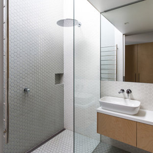 Inspiration for a contemporary 3/4 bathroom in Sydney with flat-panel cabinets, light wood cabinets, a curbless shower, white tile, a vessel sink, white floor, an open shower, white benchtops, a niche, a single vanity and a floating vanity.