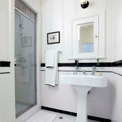 Inspiration for a mid-sized timeless 3/4 white tile and subway tile mosaic tile floor alcove shower remodel in Los Angeles with a pedestal sink and white walls