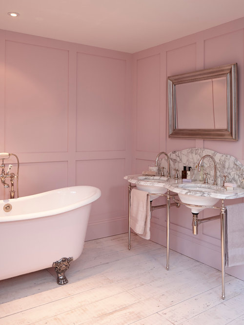 inspiration for a farmhouse matchstick tile freestanding bathtub remodel in london with pink walls - Matchstick Tile Bathroom Ideas