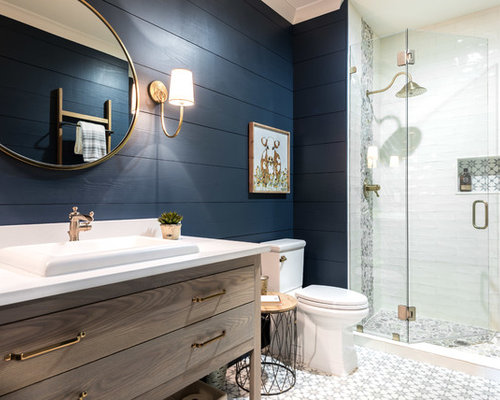 tile bathroom ideas. Farmhouse 3 4 multicolored tile and white floor alcove  shower idea in Atlanta Best 70 White Tile Bathroom Ideas Houzz