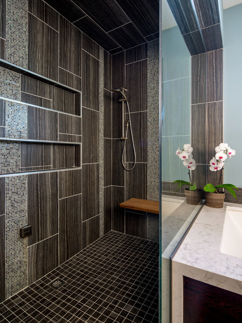 Inspiration For A Contemporary Gray Tile Bathroom Remodel In Minneapolis  With An Undermount Sink And Blue