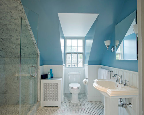 Slanted ceiling shower houzz for Small bathroom with sloped ceiling