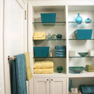 Example of a mid-sized transitional 3/4 white tile and subway tile bathroom design in New York with shaker cabinets, white cabinets and white walls