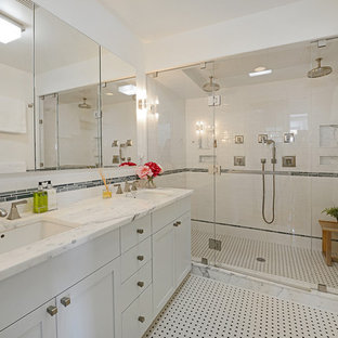 Transitional master white tile and subway tile multicolored floor double shower photo in New York with shaker cabinets, white cabinets, an undermount sink and a hinged shower door