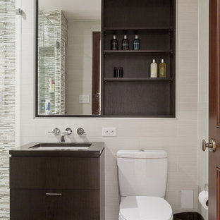 Example Of A Trendy Matchstick Tile And Beige Bathroom Design In New York With Flat