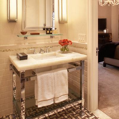Inspiration for a timeless subway tile mosaic tile floor bathroom remodel in New York
