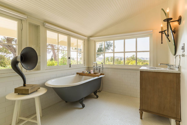 Lovely Farmhouse Bathroom by SUBU Design Architecture