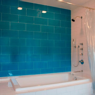 Eclectic blue tile and ceramic tile bathroom photo in New York