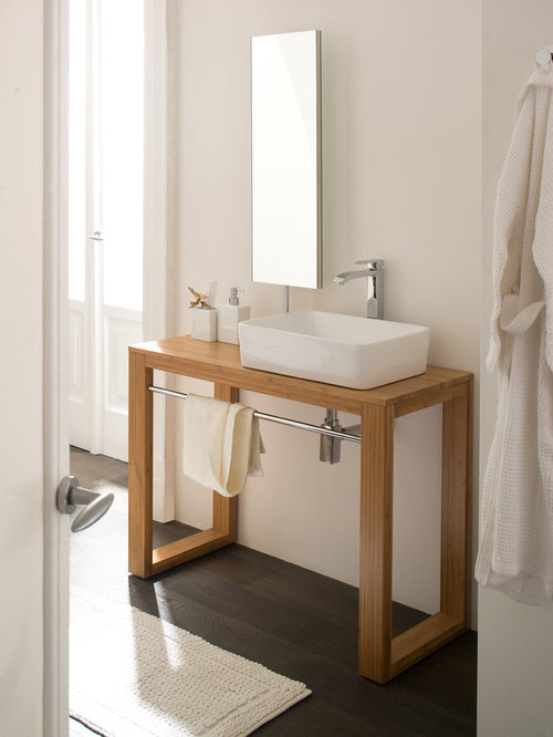 Scandinavian bathroom vanity with makeup table home design for Bathroom cabinets townsville