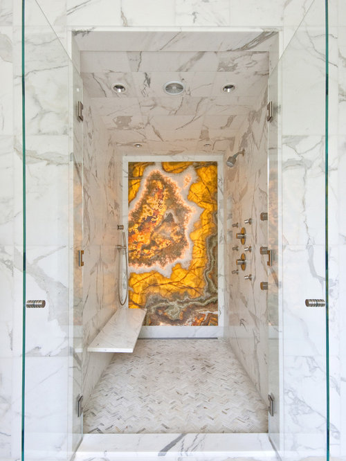 Example of a trendy yellow tile and marble tile alcove shower design in  Charleston