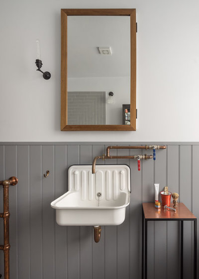 Simple Industrial Bathroom by Patrick Lewis Architects