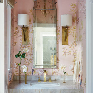 Freestanding bathtub - small transitional single-sink and wallpaper freestanding bathtub idea in Other with white cabinets, pink walls, gray countertops and a built-in vanity