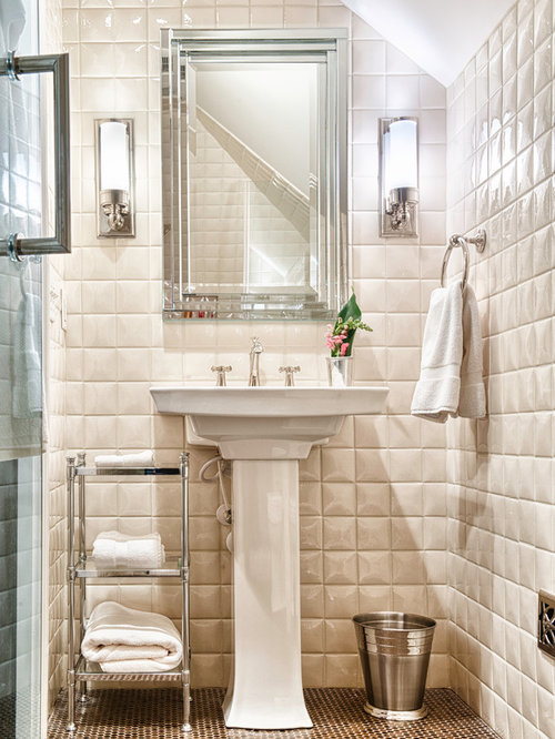 Example Of A Clic White Tile Mosaic Floor Alcove Shower Design In Other With