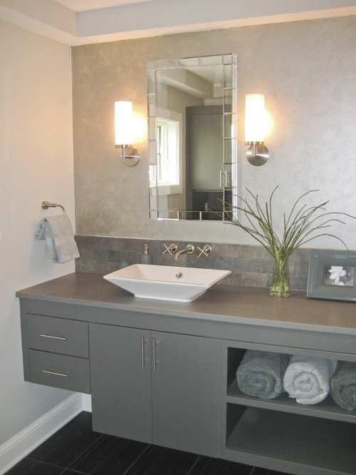 Trendy Bathroom Photo In Minneapolis With A Vessel Sink And Gray Cabinets