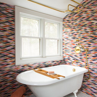 Inspiration for a mid-sized victorian master multicolored tile and ceramic tile marble floor and white floor bathroom remodel in New York with flat-panel cabinets, medium tone wood cabinets, white walls and a trough sink