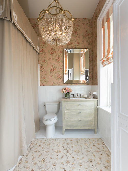 Inspiration For A Timeless Bathroom Remodel In Charleston With An  Undermount Sink, Distressed Cabinets,