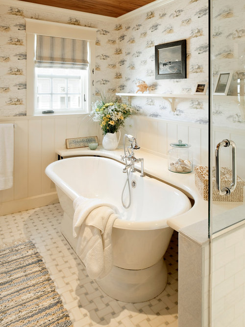 Bathtub shelf home design ideas pictures remodel and decor Bathroom design ideas with freestanding tub
