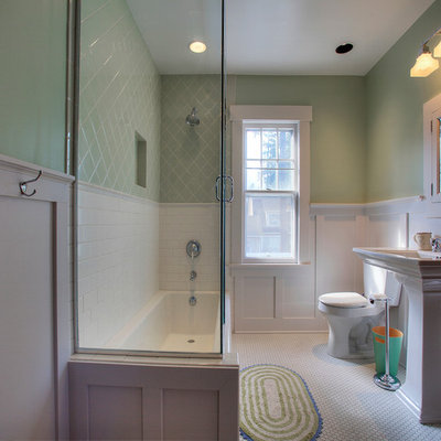 Alcove bathtub - mid-sized craftsman green tile and ceramic tile mosaic tile floor alcove bathtub idea in Seattle with a pedestal sink and green walls