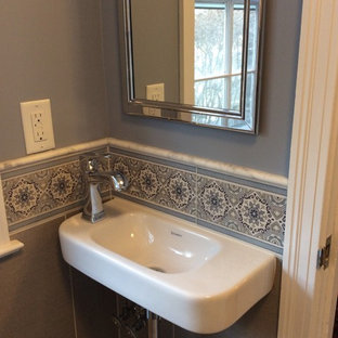 Bathroom - small eclectic 3/4 blue tile, gray tile and mosaic tile bathroom idea in Bridgeport with blue walls and a pedestal sink