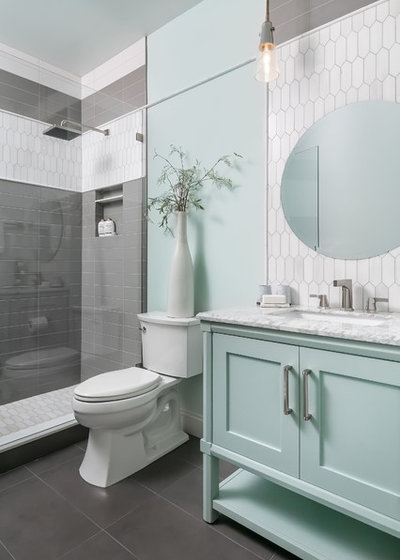 Coastal Bathroom by Hue Interiors Inc.